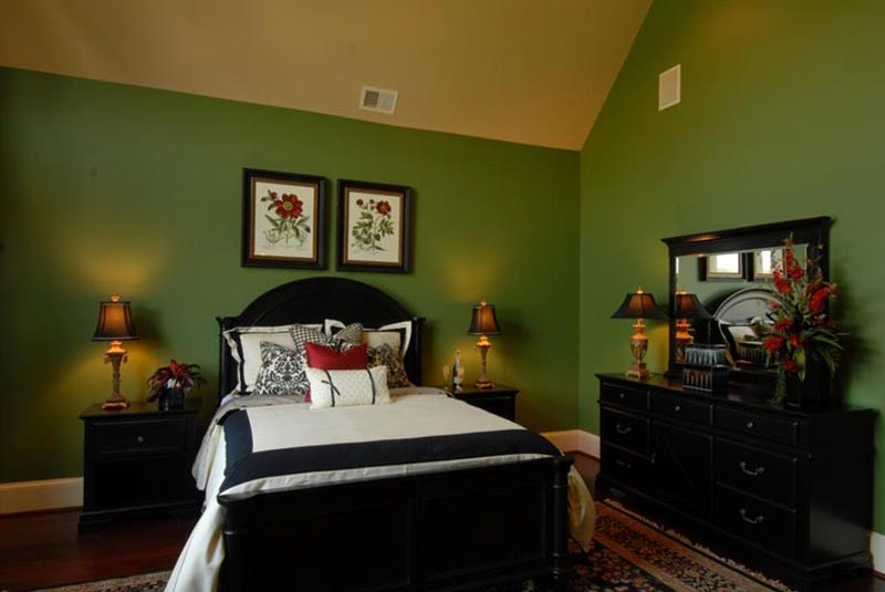 master bedroom with green walls and dark wood flooring pictures to pin
